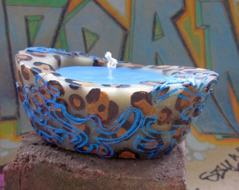 Beeswax / palmwax Candle, Medium Leopard Pattern with Floral Overlay Design, Eco-Friendly Wax Candle, Brown and Blue Colors