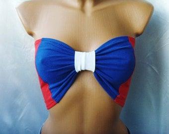 AMERICAN FLAg Top FESTIVAL Festival Sport Bandeau Yoga Beach Bra Tube Strapless Top Bralette Underwear Blue Red White Bow USA American Flag