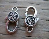 6 Snowflake Lobster Clasp Antiqued Silver 25mm