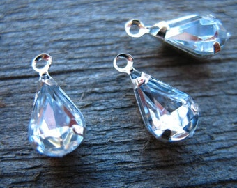 6 Clear Rhinestone Teardrop Charms 14mm