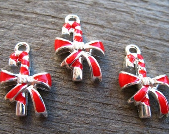 6 Eanameled Candy Cane Charms Red and Silver 18mm