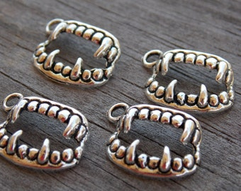 10 Silver Vampire Fangs Charms 17mm Silver Teeth