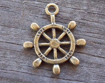 10 Bronze Ship Steering Wheel Charms 24mm Nautical Antiqued Bronze