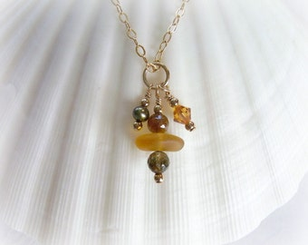 Tourmaline and Seaglass Necklace Jewelry,  Amber and Olive Tourmaline,  Golden Yellow Sea Glass,  FW Pearl,  Swarovski Crystal,  Gold Filled