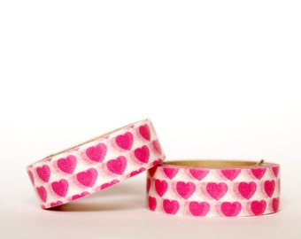 MINI 5M Pink Hearts on White Washi Tape