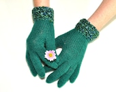 Emerald Knit Gloves, Hand Knit Gloves,Wool Knit Gloves, Womens Knit Gloves, Knit Gloves, Green Gloves, Green Knit Gloves