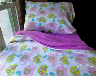 Girls Bedding Elephants and Turtles Toddler Fleece Bedding Set Handmade Fits Crib and Toddler Beds