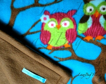 Owl Print Baby Blanket for Girls and Boys Handmade Fleece Blankets (28x46)