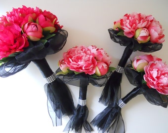 Hot Pink, Pink, Fuchsia and Black Bridal Bouquets Set