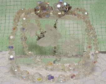 Aurora Borealis Double Strand Necklace Earrings