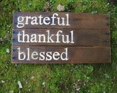 Rustic Wood sign Fall home decor  wedding fall decor Reclaimed wood hand painted family sign Grateful Thankful Blessed inspirational quote