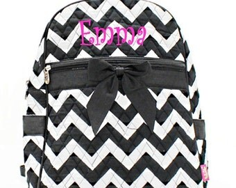Personalized Girls Chevron Print Quilted Backpack - Black & White  Booksack Monogrammed FREE