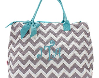 Personalized Chevron Large Tote Bag Gray & White with Aqua Trim Quilted Overnight Bag Monogrammed FREE