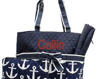 Personalized Anchor Diaper Bag Set Baby Boy or Girl  Navy & White Diaperbag 3 piece set Monogrammed FREE