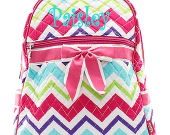Personalized Girls Chevron Print Quilted Backpack - Multi Color Zig Zag Booksack Monogrammed FREE
