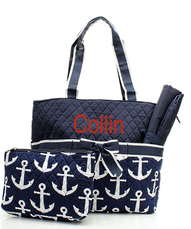 personalized anchor diaper bag set baby boy or girl navy. Black Bedroom Furniture Sets. Home Design Ideas