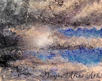 Original Abstract Acrylic Painting on Canvas 24x30 - 'Silver Lining' by Michigan Artist