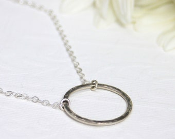 Eternity necklace, Sterling Silver eternity necklace, hoop necklace, sterling silver pendant, circle pendant, eco friendly, bridesmaid gift