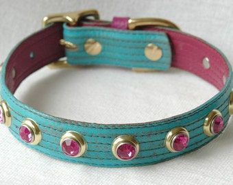 Leather Dog Collar, Turquoise Dog Collar. Dark Pink and Turquoise leather dog collar. Custom sizes small to large.
