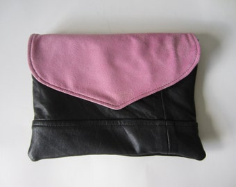reverisble black leather envelope clutch with pink suede and black flap