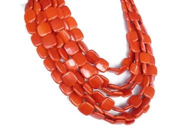 Chunky Tangerine Orange Necklace  - Super Chunky Orange Statement Necklace - Super Statement Necklace