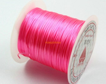 1 Roll 8 Yards 0.7mm Pink Elastic Bead Cord Bracelet Rope (TANLIXIAN3)
