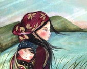 """Mother and child """"in the morning"""" art print"""