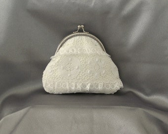Small Vintage Styel Wedding Bridal Coin Purse Handmade Ivory Cluny Lace Fabric