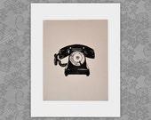 Vintage Antique Rotary Telephone Linocut Block Print