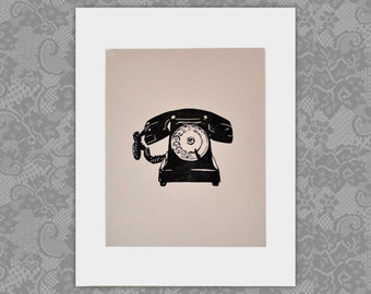 Vintage Antique Rotary Telephone Linocut Block Print