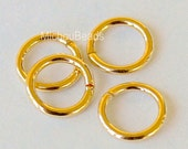 25 GOLD 6mm / 18 Gauge Round Open JUMPRINGS - Shiny Gold Plated Brass Jump ring Links - Wholesale Findings - Instant Ship from USA - 5486