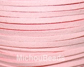 1 YARD 3mm Light PINK Flat Micro Fiber Faux Suede Leather Ribbon Cord - 3x1.5mm Faux Suede Jewelry Cord By the Yard - Instant Ship from USA