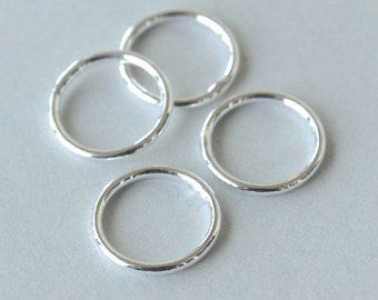 25 CLOSED 6mm SILVER Jumprings Connector - 18 gauge Round Plated Brass Soldered Closed Jump Ring Links - Instant Ship from USA - 5485