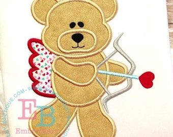 Valentines Cupid Bear Applique and Personalized Shirt or Bodysuit - Boys and Girls