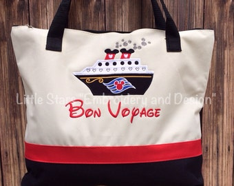 Large Tote Bag with Disney Cruise Ship Appliqued