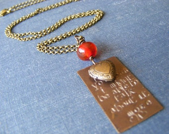 If I Loved You Less Necklace:  Vintaj Brass Hand stamped Pendant Gorgeous Red Lampwork and Heart Locket