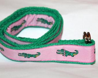Girls Pink Alligator Belt Girls Ribbon Belt Pink Alligator Belt PReppy Gator Belt Girls Ribbon Belt LIttle Girls  Belt Pink Gator Belt