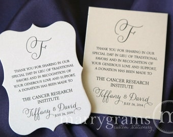 Wedding Favor Donation Cards - In Lieu of Favors Reception Place Card - Custom Donation Table Cards, In Memory Donate Note Cards - SS01