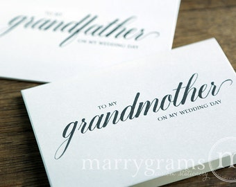 Wedding Card to Your Grandparents - Grandparent of the Bride or Groom Cards, Grandmother, Grandfather On My Wedding Day Thank You Notes CS04
