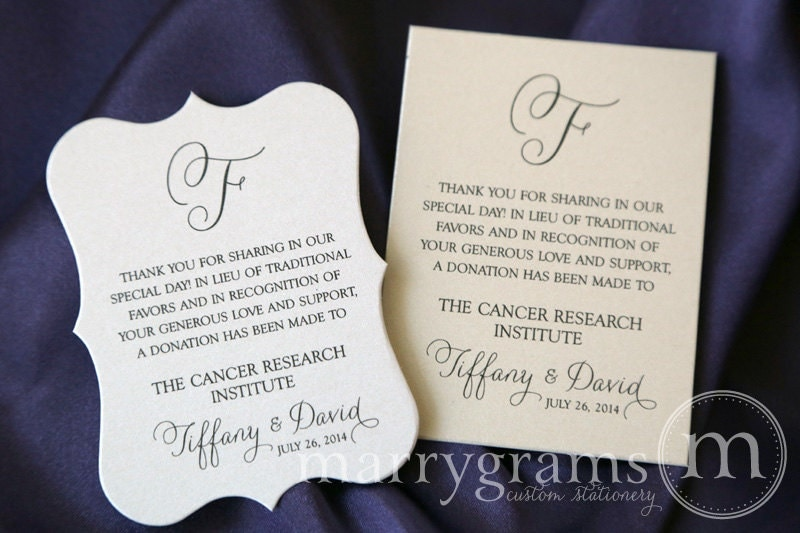 Wedding Gift Charity Donation Etiquette : Wedding Favor Donation Cards In Lieu of Favors Reception