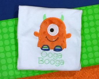 Monster Shirt, Monster Applique Design, Monster monogrammed Shirt, Halloween Monster