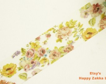 Japanese Washi Masking Tape - Yellow Flower Garden - 20mm Wide - 11 yards