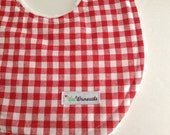 Bib Plush Red Gingham Print Limited Edition Designer Fabric Red and White