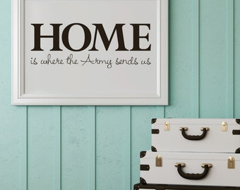 "Home is where the army sends us - style 3 - removable decal 7.5"" x 20"""