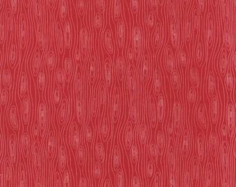 CLEARANCE - Red and White Wood Grain Fabric - Folk Art by Gina Martin from Moda 1/2 Yard