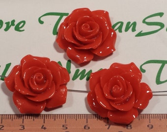 4 pcs per pack 30mm Orange Red Rose Pendant side to side drilled lead free Resin