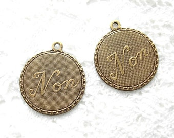 12 Pieces - Antiqued Brass Non Charms - Many Uses