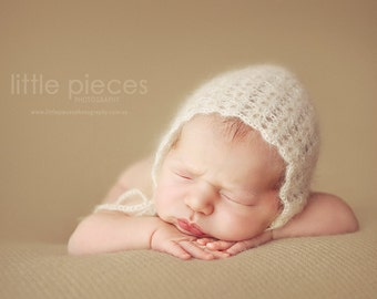 PDF Crochet Pattern - newborn photography prop web spun light mohair bonnet #50