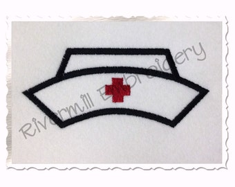 Applique Nurse Hat Machine Embroidery Design - 4 Sizes