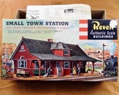 Vintage 1957 Revell HO Scale Small Town Station Model T-9001 249 Kit In Original Box. Instruction Sheet, Played w Condition. See Pictures.